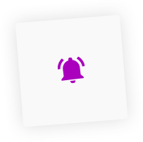 A cowbell icon, inside a box-shadowed graphic layout box element